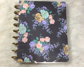 Black and Lavendar Floral Planner Cover