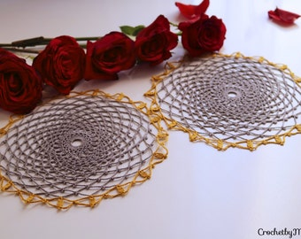 Set of 5 grey doilies,Crochet items,Crochet round doilies, gray doilies,gold doilies,Crochet table decoration,crochet coasters,wedding doily