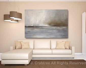 Giclee PRINT of Abstract Painting Gray, Blue, Print on Canvas Modern Art CRABTREE PRINT
