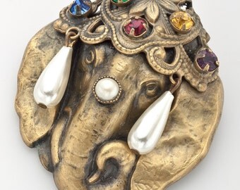 Joseff of Hollywood Elephant Head Brooch Signed