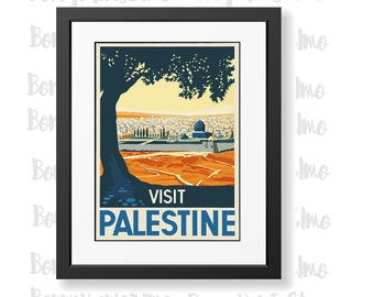 Palestine Travel Art, Palestine Poster, Palestine Tourism, Vintage Travel Posters, Travel Decor, Middle East Poster, Home Wall Decor,
