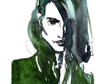 Print of original Art Work / WOMANS PORTRAIT / Water color illustration GREEN