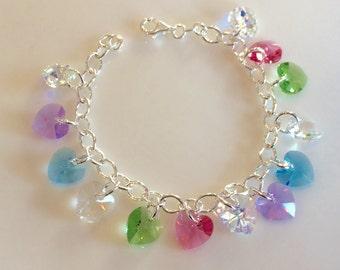 Sterling Silver & Swarovski Crystal Heart Bracelet