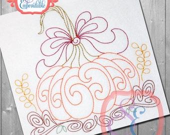HARVEST PUMPKIN BEAN Stitch Design For Machine Embroidery  Instant Download