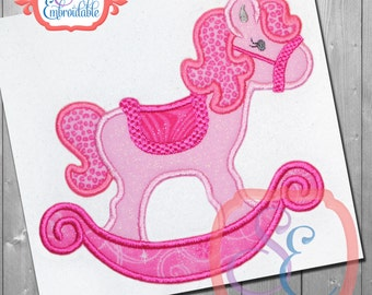 Girl ROCKING HORSE Applique Design For Machine Embroidery INSTANT Download