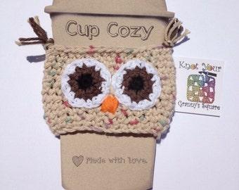 Owl Coffee Cup Cozy, Owl cup cozy, crochet owl cup cozy, Owl Coffee Sleeve, owl gift, teacher gift
