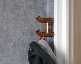 MAGNETIC COPPER HOOK 4 - hook with magnet, industrial wall hook, take away hanger, clothes hanger, industrial pipe clothing rack