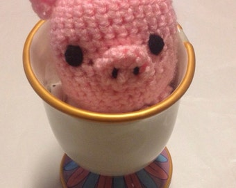 Crochet Teacup Pig, Handmade Piglet Stuffed Animal, Amigurumi, Baby Shower Gift, Micro Pig Toy