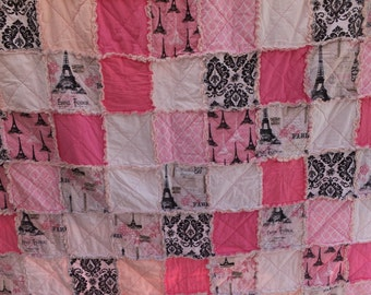 Rag Quilt, Paris Quilt, Girls Twin Size Rag Quilt in Pink, Black, White, and Paris and Eiffel Tower Themed Fabrics,
