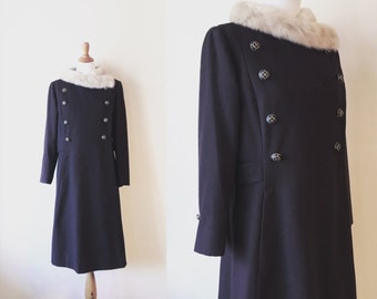 Brown vintage coat. Mink collar coat. 1960's coat. Vintage wool coat. Dress coat. Vintage fur coat. Autumn vintage coat.