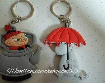 Set of 2 keychains / Keyring. Moomin Snorkin Little Mi.