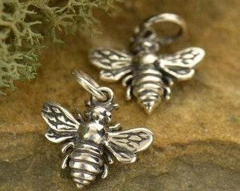 Bee Sterling Silver Charm Honeybee Bumblebee pendant Flying Insect Charm or Necklace Spring Girl Child Dainty Children 699