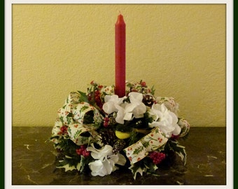 Christmas Centerpiece with Hydrangeas,  Country Christmas Centerpiece, Christmas Candle Floral Arrangement