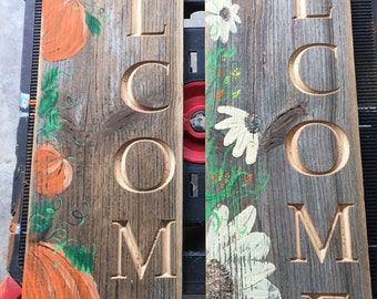 Custom Hand Painted Engraved Barn Siding Welcome Signs
