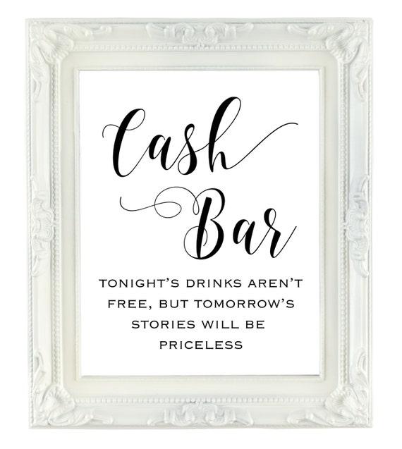 Cash Bar Sign Wedding bar sign 8x10 printable wedding sign