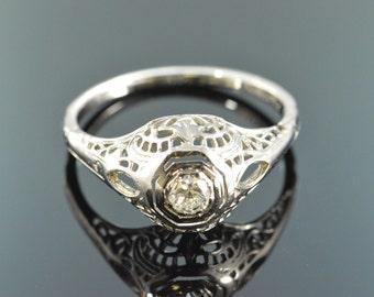 18K Antique 0.25 Ct Old European Cut Diamond Filigree Engagement Ring Size 6.75 White Gold