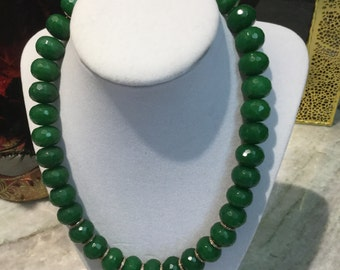 Green jade bead necklace with gold diamond pave clasp and gold diamond pave spacers