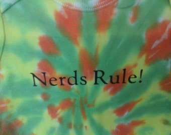 Nerds Rule, Tie-Dye Onesie, Pre-Made in Size 24 Months Dyed in Green, Yellow, and Orange. Ready to Ship