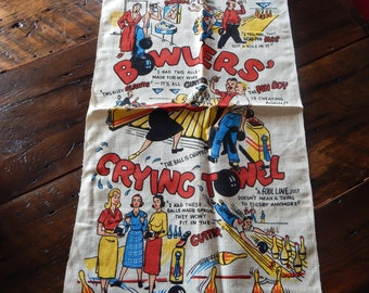 Vintage Man Cave Bowling Bar Towels