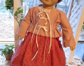 """Colonial Jacket and Quilted Skirt Historic 18"""" Doll Outfit to fit your American Girl Doll"""