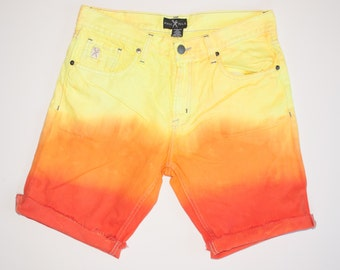RADICAL size 32 DENIM NEON tequila SONrise dyed cutoff shorts