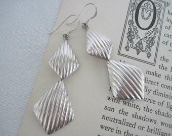 Sterling Silver Dangle Earrings, Sterling Silver Drop Earrings, Long Silver Earrings, Vintage Silver Earrings