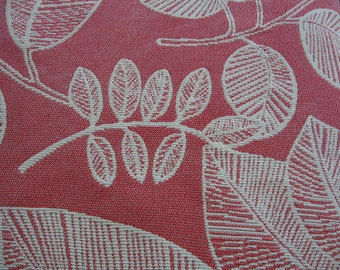 Red with Cream Leaf Upholstery Fabric Remnant Craft Cushions