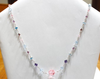Blue Topaz Swarovski Strass Crystal Wire Wrap Necklace