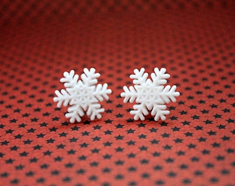 Christmas snowflake plugs for gauged ears 8mm 0G stretched white snow winter