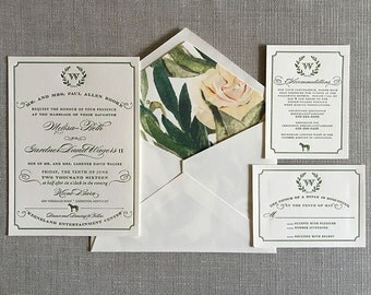 Equestrian Wreath wedding invitation in green and ivory