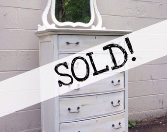 SOLD!!! Shabby Chic Distressed Dresser with Vanity Mirror .. Free NYC Delivery!