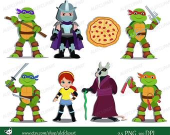 50% OFF SALE Ninja Turtles Digital Clipart.