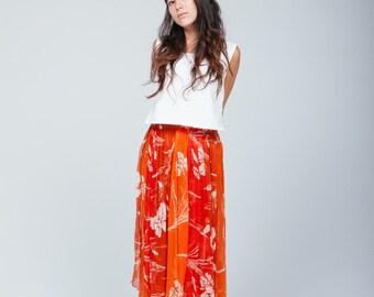 orange chiffon layered skirt