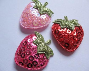SET of 15 Padded Sequin Strawberry Appliques/Pink/Hot Pink/Red/trimhair bow centers/hair clip/diy/embellishments