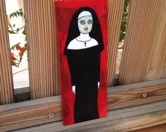 creepy nun painting original art on wood #3