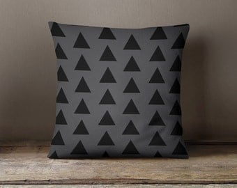 Gray and black geometric triangles throw pillow with insert