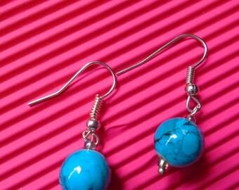 Beads Earrings, Blue Crystal, Gift Idea, Card, Organza bag,