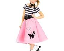 Child's 50's Soda Shop Sweetie Costume / 50's Soda Shop Costume / 50's Sock Hop Costume / Poodle Skirt Costume / Child's Grease Costume