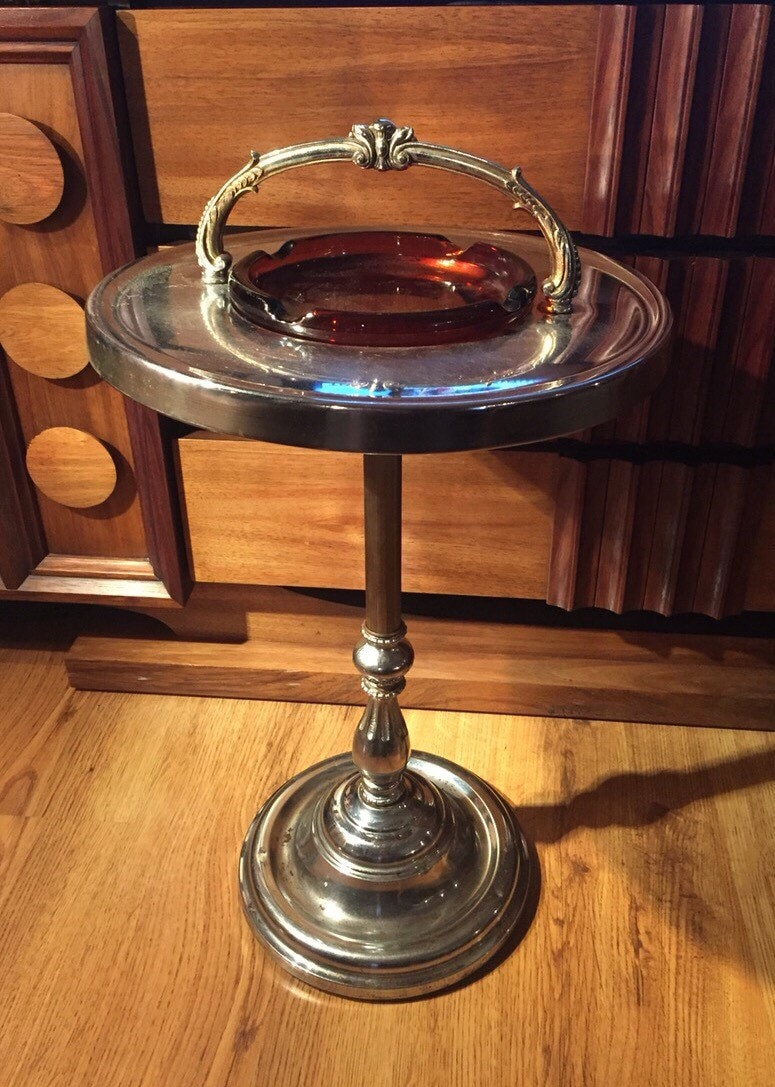 Art Deco Standing Ashtray Vintage Chrome Standing Ashtray