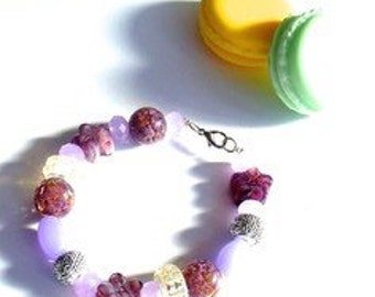 purple bracelet with glass beads