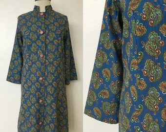 1970's Paisley Cotton Button-Front Shirt Dress