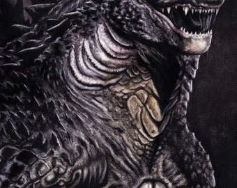 Original Godzilla painting (42x30 cm)