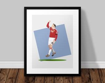 Wayne Rooney Celebration Illustrated Poster Print   A6 A5 A4 A3