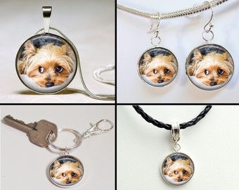 Dog Jewelry - Custom Dog photo earrings - Personalized Pet Earrings - custom Pet jewelry - cat earrings - sterling silver plated