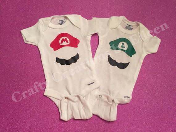 Mario and luigi baby bodysuit set twin by craftycreationsbyeq