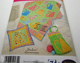 Simplicity Sewing Pattern 2575 Quilted Accessories Cat Cats Kitten Aplique Darlene Zimmerman Quilt Wallhanging New Uncut Cat Lady Cat Lover