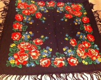 Russian vintage wool shawl with fringes