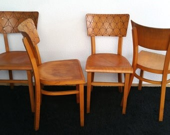 Set of 4 vintage chairs THONET stamped