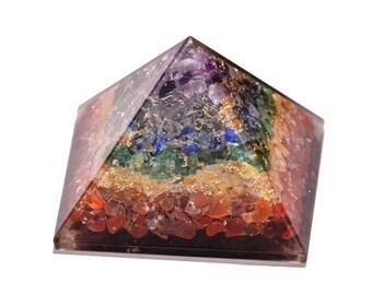 Father's Day SALE! Seven Chakra Orgonite®  Pyramid, EMF Protection, Crystal Pyramid, Energy Generator, Reiki Healing Crystal