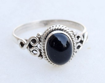 Black onyx Ring, Stone Ring, Silver Ring, 92.5 Sterling Silver, Silver Black Ring, Black onyx Silver Ring, Size US 3 4 5 6 7 8 9 10